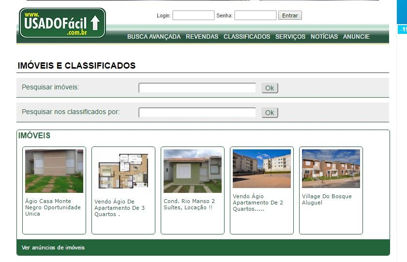 Pesquisa os classificados do site (Foto: Reprodução/Usado Fácil)