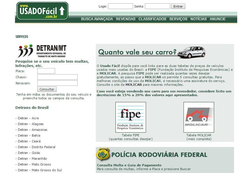 Serviços do site Usado Fácil (Foto: Reprodução/Usado Fácil)