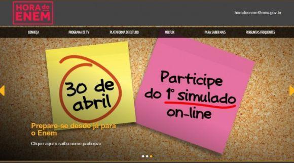 A plataforma vai realizar quatro simulados online gratuitos, ao longo do ano (Foto: Reprodução Hora do Enem)