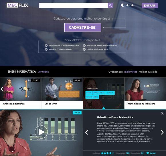 MECflix vídeo-aulas para ajudar alunos no Enem (Foto: Divulgação MEC)