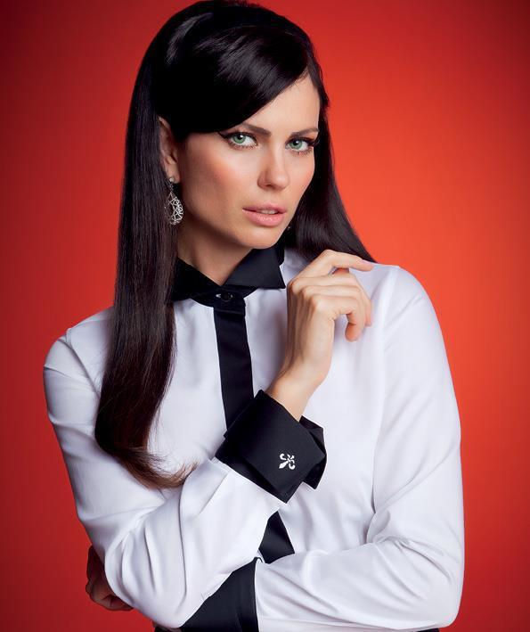 Camisa Dudalina branca com detalhes em preto (Foto: Divulgação)