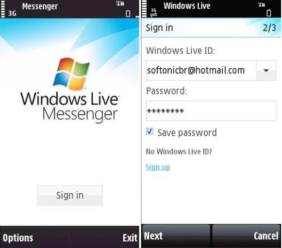 Windows Live Messenger Mobile. (Foto: Reprodução/Softonic)