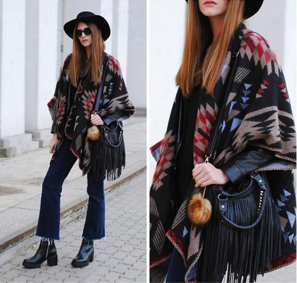O poncho é uma opção moderna para o look. (Foto: Reprodução/Lookbook.nu)