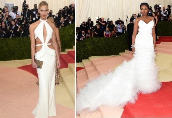 O vestido branco foi destaque no baile. (Foto: Reprodução/Getty)