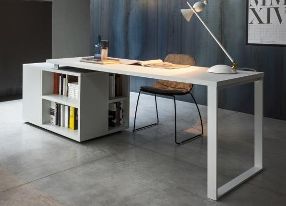 Mesa de escritório com espaço de armazenamento. (Foto: Reprodução/ Gomodern)
