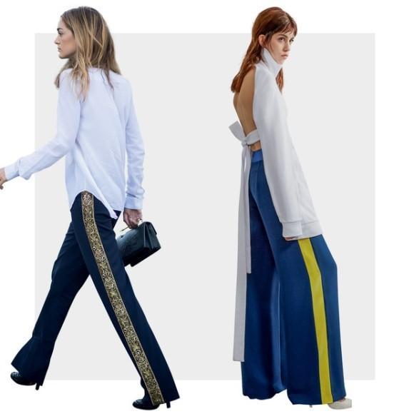 A pantalona com listra lateral é uma tendência para 2016. (Foto: Reprodução/Vogue Brasil)