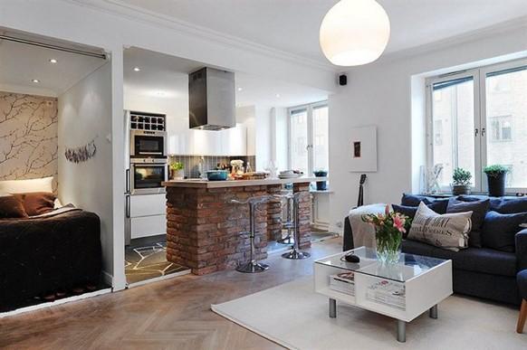 Sala e cozinha dividem o mesmo espaço. (Foto: Reprodução/ Furnifair)