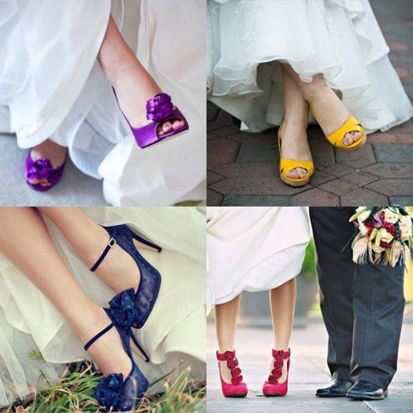 Sapatos de noiva coloridos. (Foto: Reprodução/Weddingengagementnoise)