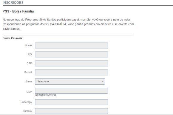 Formulário de inscrição Bolsa Família Sílvio Santos (Foto: Reprodução site SBT)