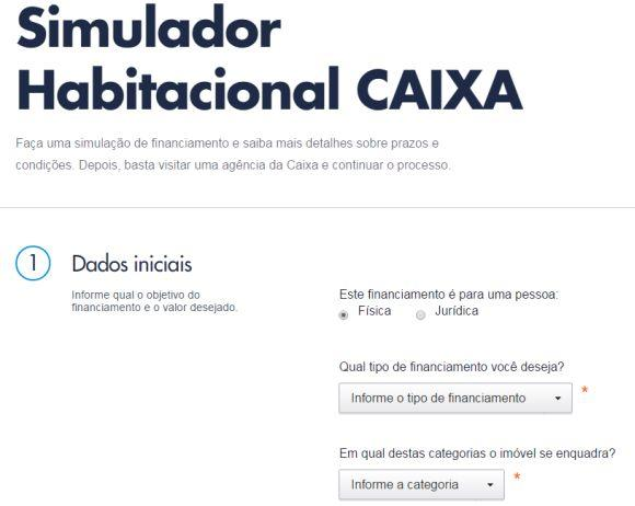 Simule o financiamento do seu novo imóvel no site da Caixa (Foto: Reprodução Caixa)