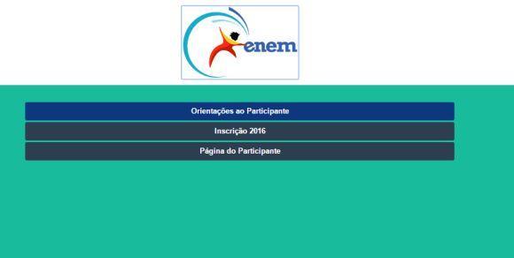 Página de inscrições do Enem 2016 (Foto: Reprodução site do Enem)