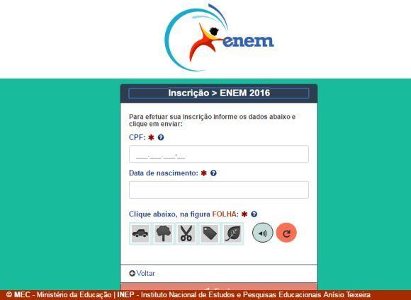 Para iniciar o cadastro, você deve informar seu CPF e a data de nascimento (Foto: Reprodução site do Enem)