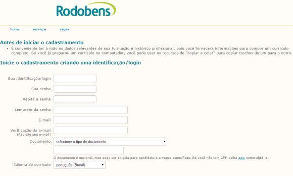 Cadastrando currículo no site da Rodobens (Foto: Reprodução Rodobens)