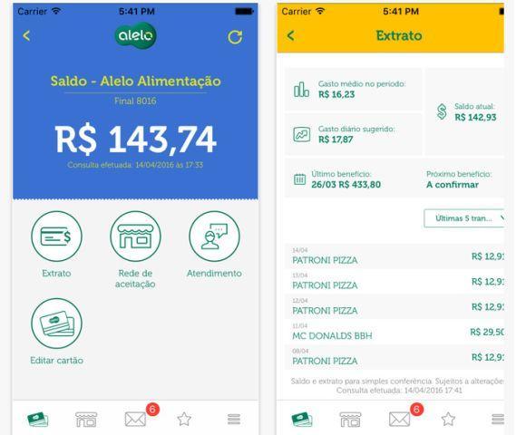 A consulta de saldo e extrato Visa Vale Alimentação também está disponível no celular (Foto: Reprodução App Meu Alelo)