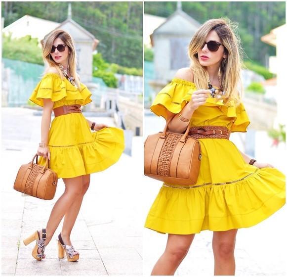 Look amarelo e bege. (Foto: Reprodução/Lookbook.nu)