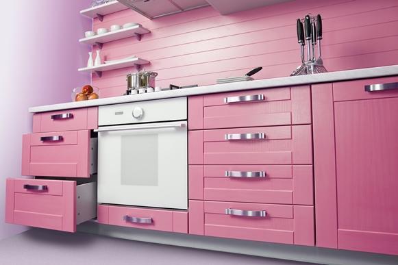 Cozinha planejada rosa. (Foto Ilustrativa)