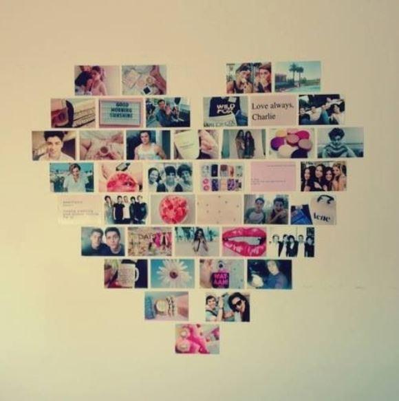 Mural de fotos com formato de coração. (Foto: Reprodução/Pinterest)
