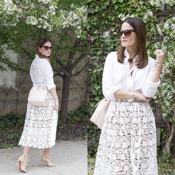 Camisa branca + saia longa. (Foto: Reprodução/Lookbook.nu)