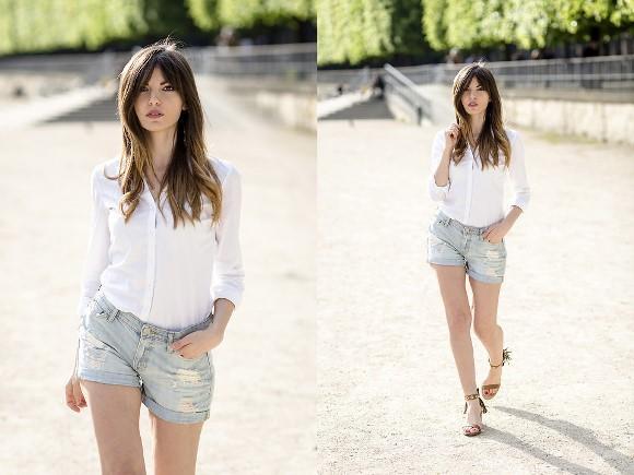 Camisa branca + short jeans. (Foto: Reprodução/Lookbook.nu)