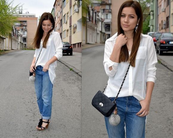 Combinação de camisa branca e calça jeans. (Foto: Reprodução/Lookbook.nu)