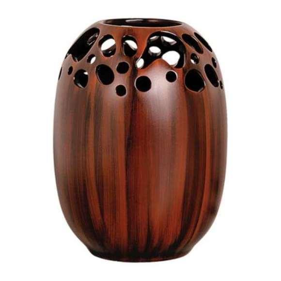 Vaso de madeira. (Foto: Foto/Mobly)