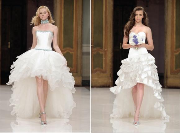 Vestido de noiva com corte mullet. (Foto: Reprodução/Bellethemagazine)