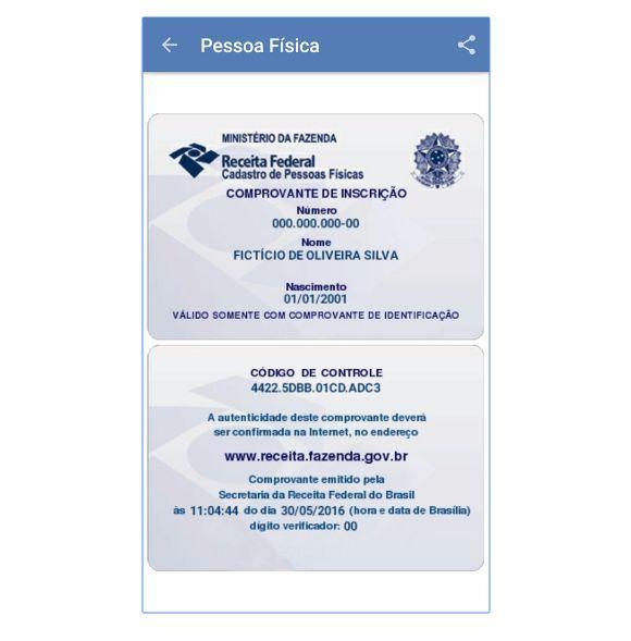 O comprovante de situação do CPF pode ser compartilhado, impresso ou armazenado no celular (Foto: Reprodução Receita Federal)
