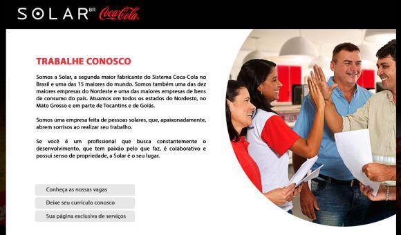 Página de cadastro do currículo na fábrica da Coca-Cola (Foto: Reprodução Solar BR)