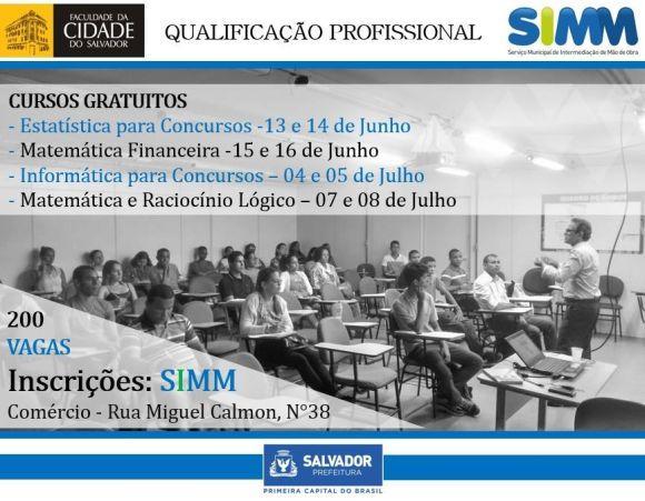 Cursos de qualificação profissional gratuita em Salvador 2016 (Foto: Divulgação SIMM)