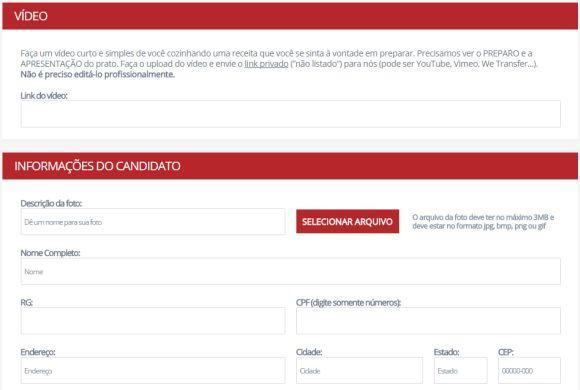 Página de inscrição MasterChef Profissionais (Foto: Reprodução Band)