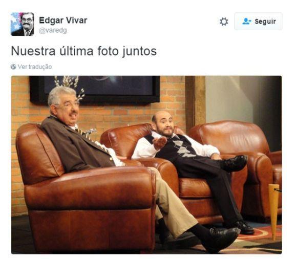 Edgar Vivar, o Senhor Barriga, divulgou a última foto que tirou com o amigo (Foto: Reprodução Twitter)