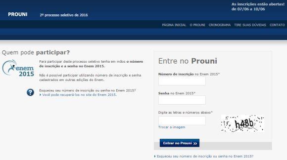 Para se inscrever no Prouni, é necessário ter participado do Enem 2015 (Foto: Reprodução site Prouni)
