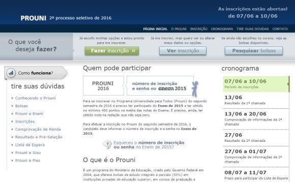 Site oficial do ProUni já aceita inscrições (Foto: Reprodução site ProUni)