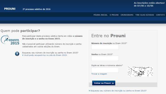 Os candidatos precisam informar o número de inscrição e a senha do Enem 2015 (Foto: Reprodução site ProUni)