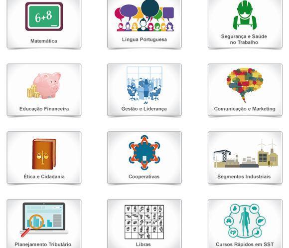 Áreas abrangidas pelos cursos online Sesi (Foto: Reprodução Sesi PE)