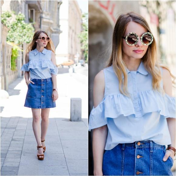 Look com saia jeans. (Foto: Reprodução/Lookbook.nu)
