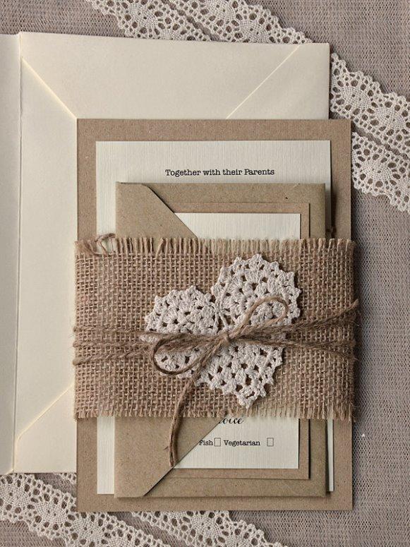 Convite de casamento com juta. (Foto: Reprodução/modwedding)
