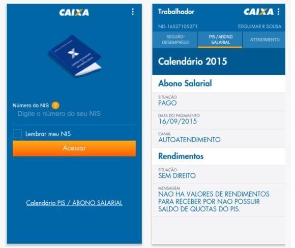 Aplicativos com calendários do PIS 2016 (Foto: Divulgação Caixa)