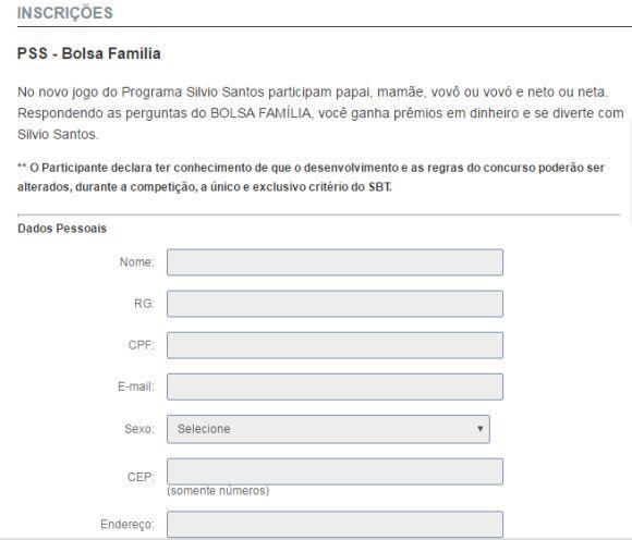 As inscrições para o Bolsa Família do Sílvio Santos estão abertas (Foto: Reprodução SBT)