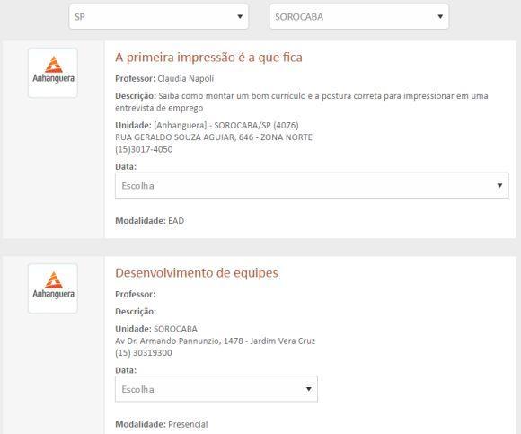 A unidade da Anhanguera em Sorocaba conta com várias opções de cursos grátis (Foto: Reprodução Anhanguera)