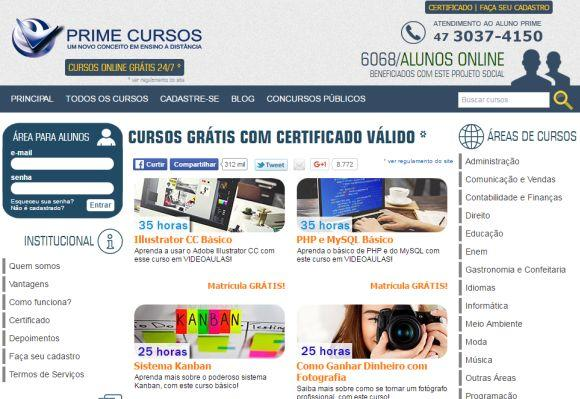 A Prime conta com diversas opções de cursos ead grátis (Foto: Reprodução Prime Cursos)