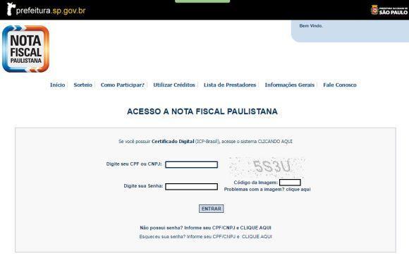 Página de cadastro do programa (Foto: Reprodução Nota Fiscal Paulistana)