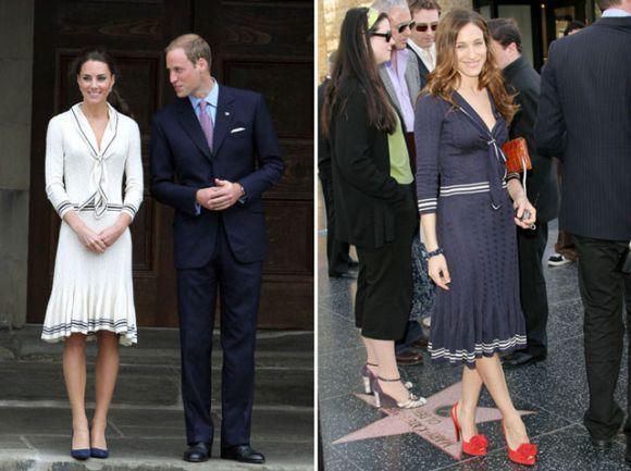 Os vestidos navy de Kate Middleton e Sarah Jessica Parker são praticamente iguais, só mudando as cores (Foto: Reprodução internet)