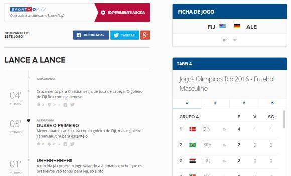 Através da página você acompanha jogos em tempo real online (Foto: Reprodução Globoesporte.com)