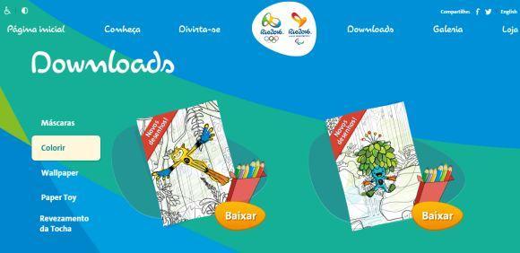 No site oficial das Olimpíadas há vários desenhos para imprimir (Foto: Reprodução COI)