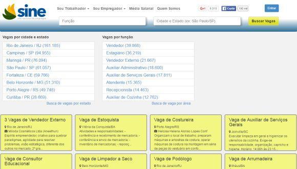 O Site Nacional de Empregos conta com milhares de anúncios de vagas (Foto: Reprodução SINE)