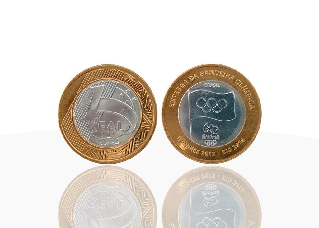 Moeda de R$1 comemorativa da entrega da bandeira olímpica (2012) – Vale até R$20,00 (Foto: Divulgação)