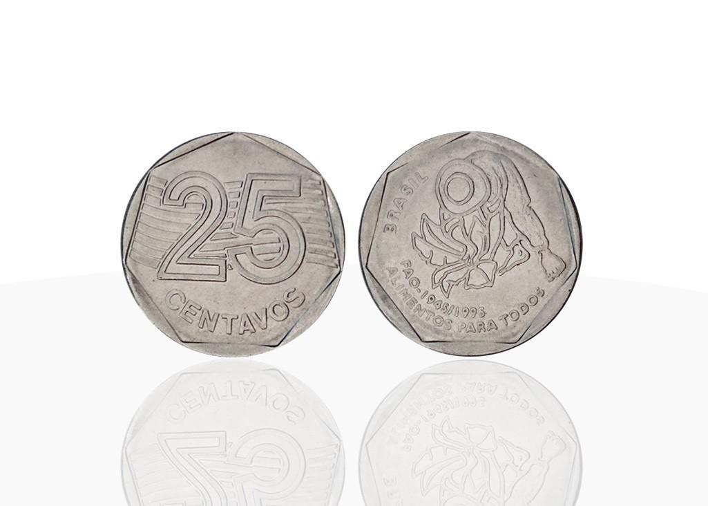 Moeda de R$0,25 comemorativa dos cinquenta anos da FAO (1995) (Foto: Divulgação)