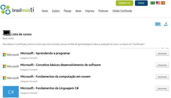 O projeto conta com várias outras opções de cursos gratuitos online (Foto: Reprodução Brasil Mais TI)