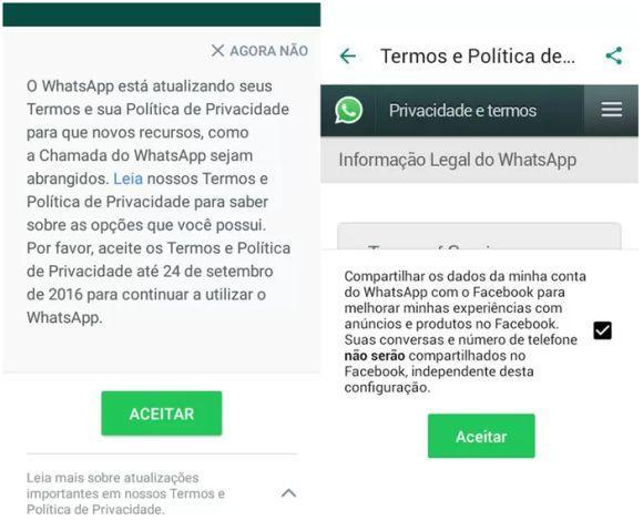 Mensagem de aviso sobre a nova política de uso, que estava sendo mostrada ao abrir o app (Foto: Reprodução TechTudo)